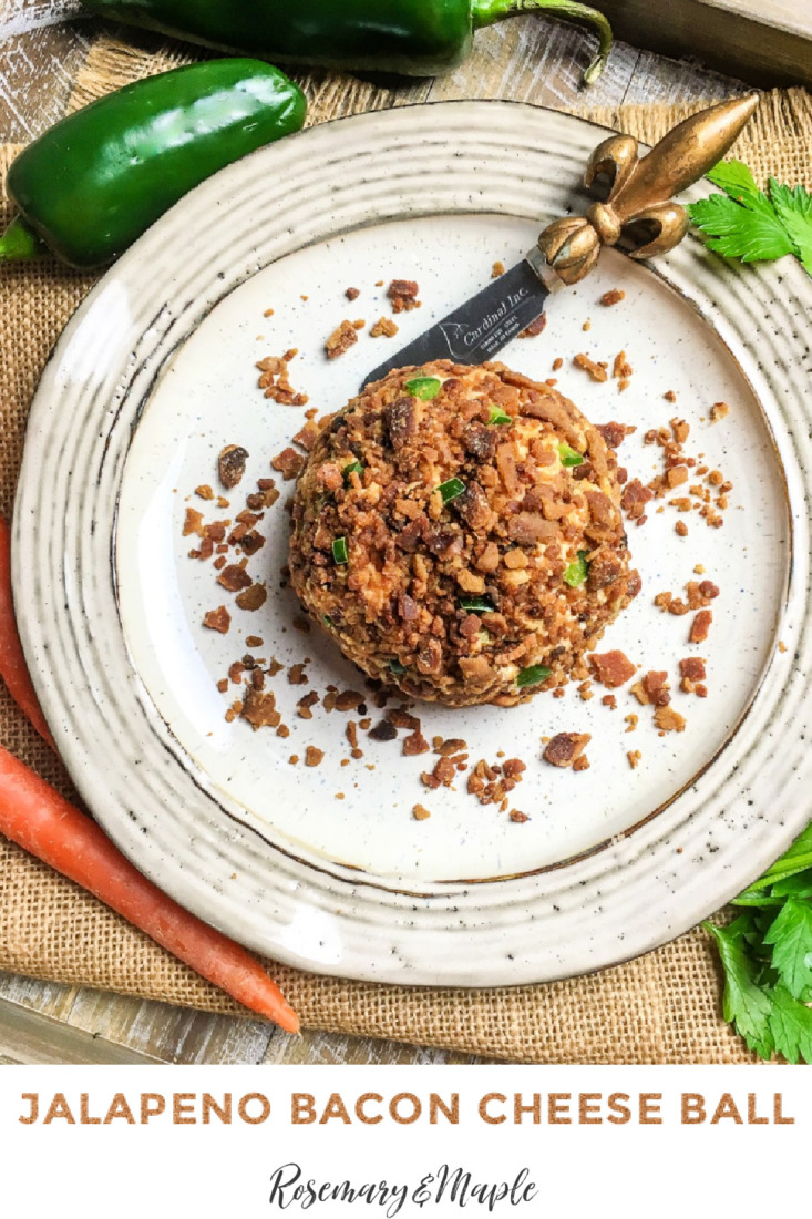 Cheese balls are a classic party appetizer and this Jalapeno bacon cheese ball is one of the best. It has the most perfect combination of creamy cheese, spicy jalapenos and salty bacon.  It is sure to be the biggest hit at any party.