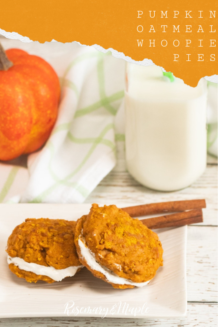 Soft and spiced pumpkin oatmeal whoopie pies sandwiched together with a buttery marshmallow filling. This fall cookie goes beyond your typical pumpkin spice cookie!