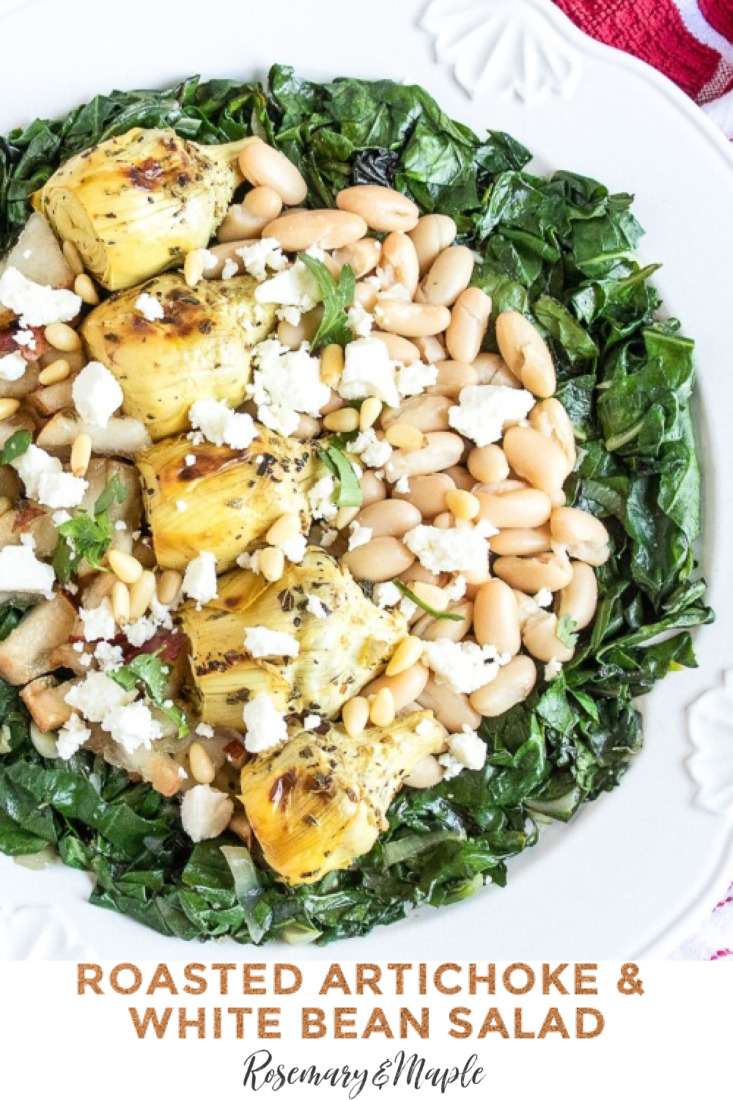 Roasted artichokes nestled in a bed of wilted chard and paired with delicious and nutritious ingredients like white beans, pear and feta cheese. This Roasted Artichoke & White Bean Salad works well as a vegetarian main dish or as a side dish.