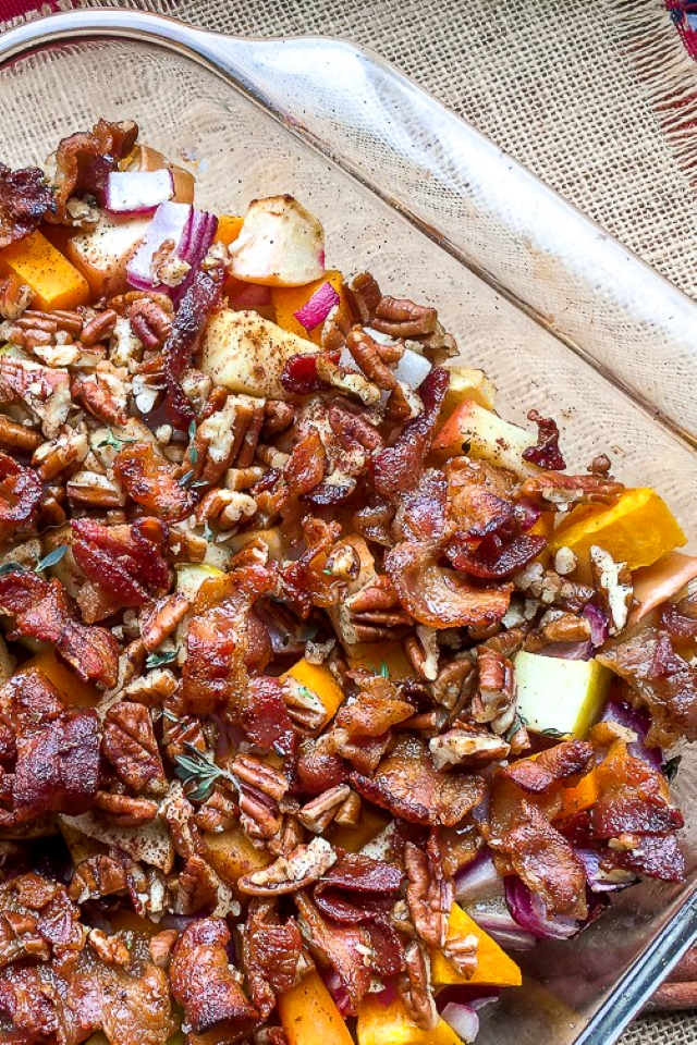 Apple Butternut Squash Casserole with Bacon-Pecan Topping