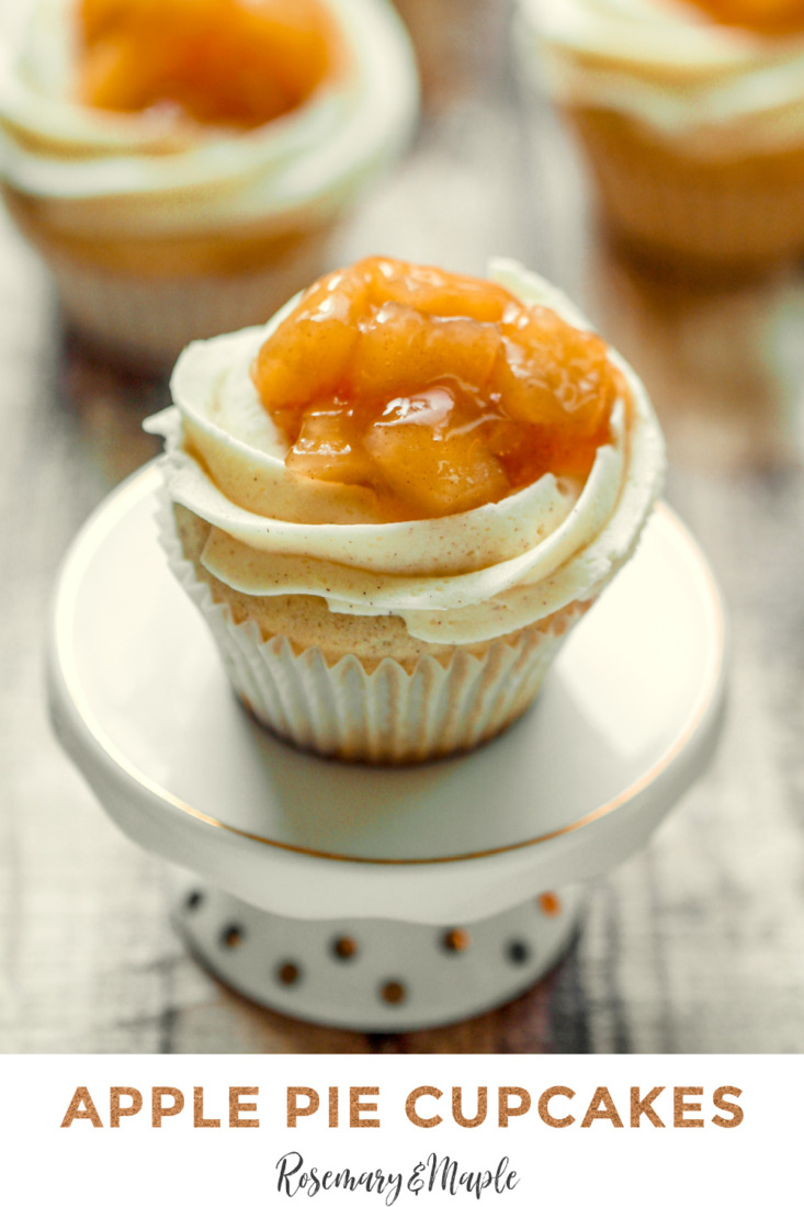 These Apple Pie Cupcakes feature a fluffy vanilla cinnamon cupcake filled with luscious apple pie filling all topped off with a vanilla cinnamon buttercream and even more apple filling! It's apple pie in cupcake form!