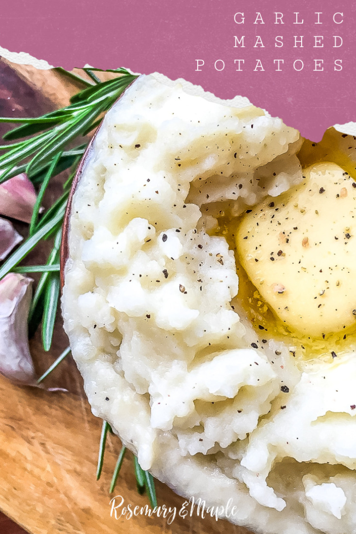Instant Pot Garlic Mashed Potatoes with Rosemary & Garlic come together for a quick and flavourful side dish.