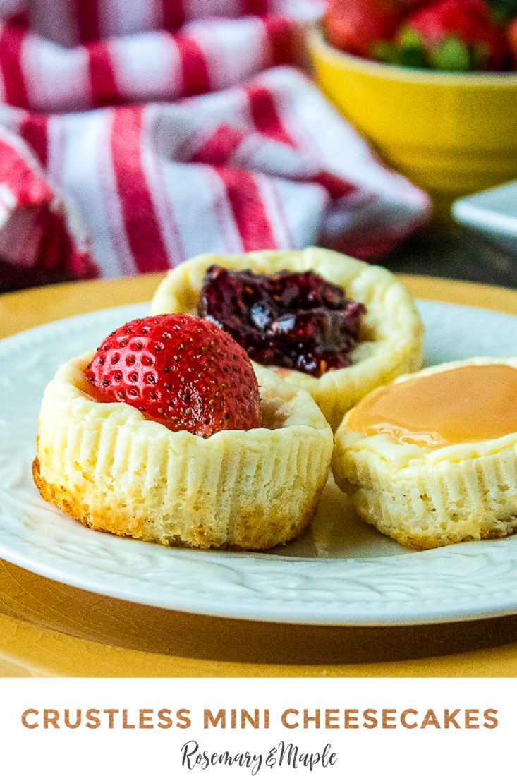 If you are looking for a dessert to feed a crowd, these crustless mini cheesecakes are just the thing. Top with the filling of your choice.