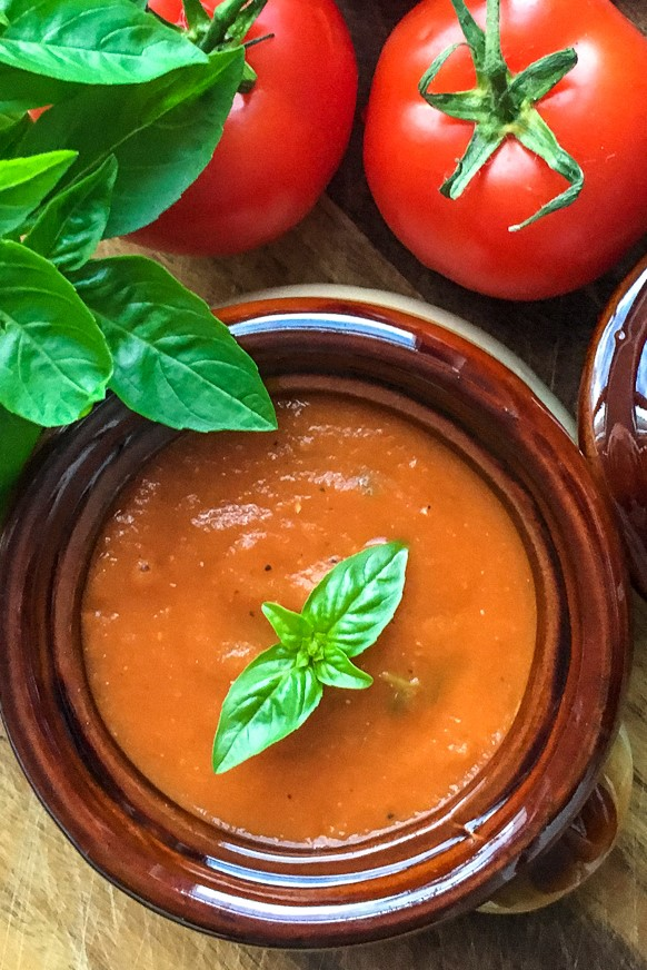 Instant Pot Tomato Basil Soup is the most tasty way to enjoy garden fresh tomatoes & basil! It's thick and creamy with a fresh, rich flavour.