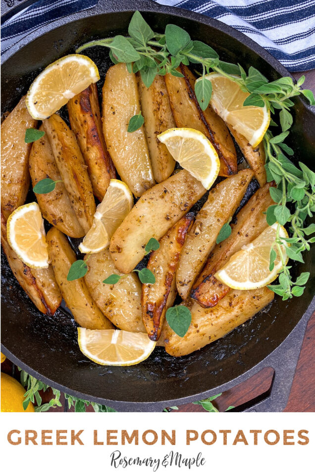 Greek Lemon Potatoes are cooked in a flavourful lemon garlic broth and then are roasted to golden perfection.