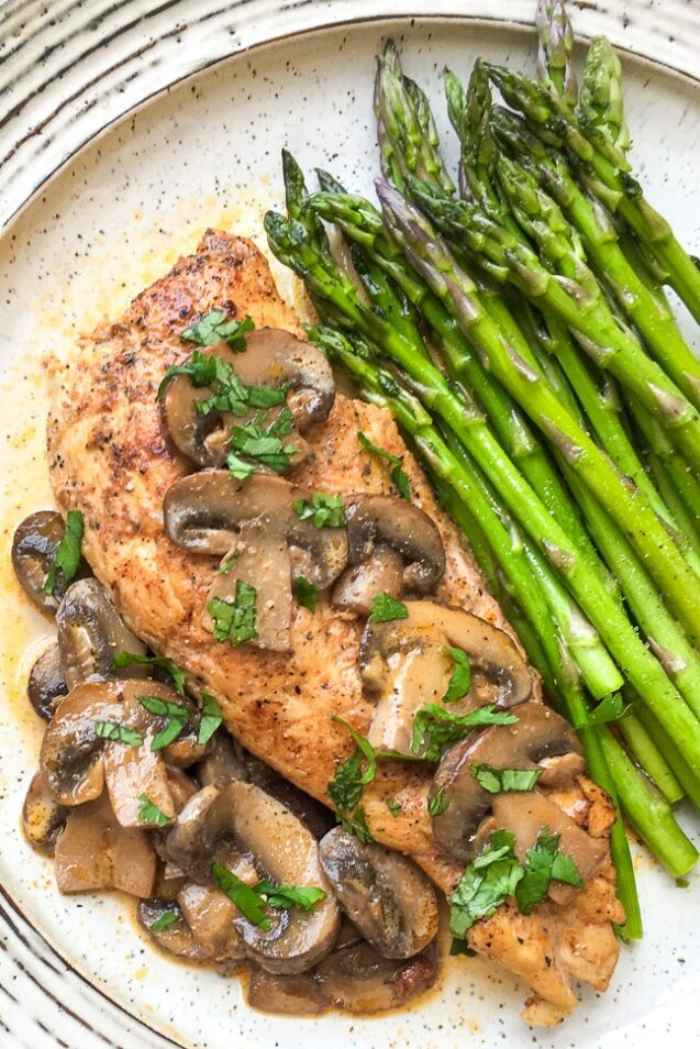 This Instant Pot Chicken Lanzone with Baby Portobello Mushrooms recipe is flavourful and low carb, featuring a delcious, creamy pan sauce.