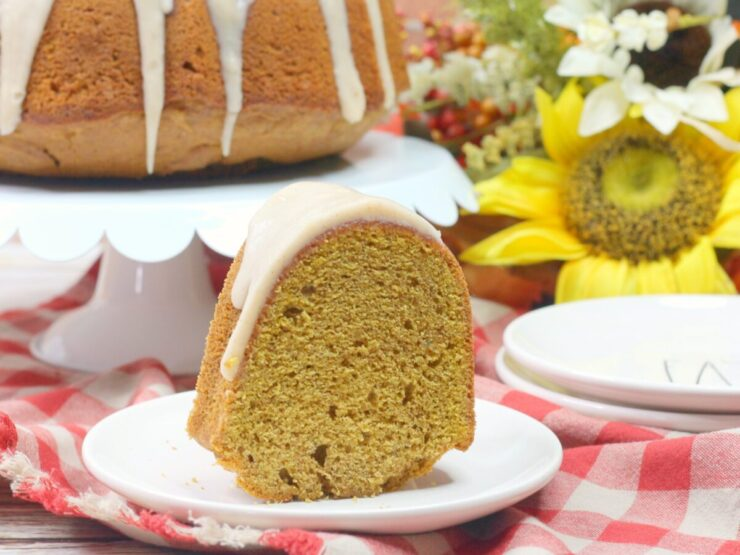 This Spiced chai pumpkin bundt cake features a tender, spiced chai pound cake smothered in an irresistibly buttery chai glaze.