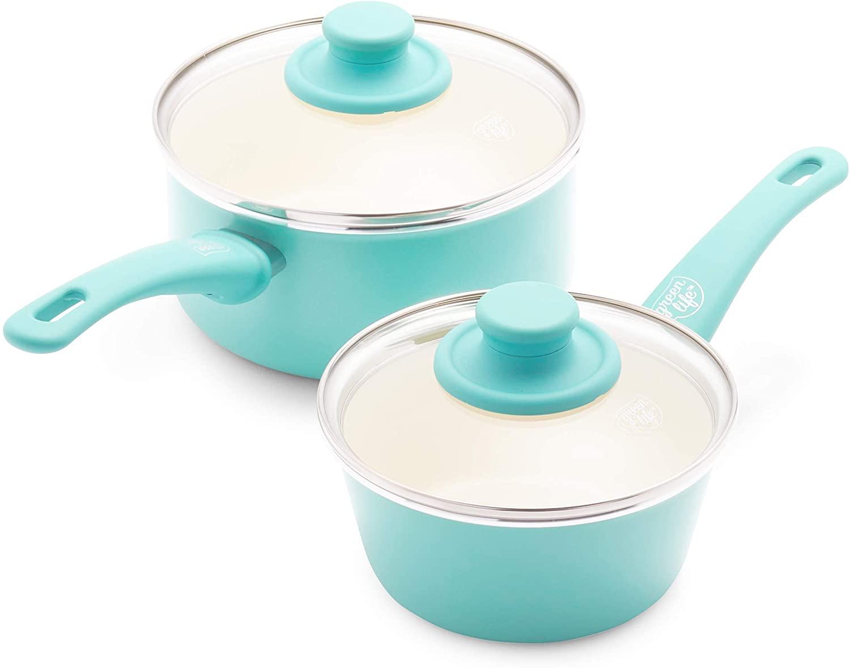 GreenLife Soft Grip Healthy Ceramic Nonstick, Saucepans with Lids, 1QT and 2QT
