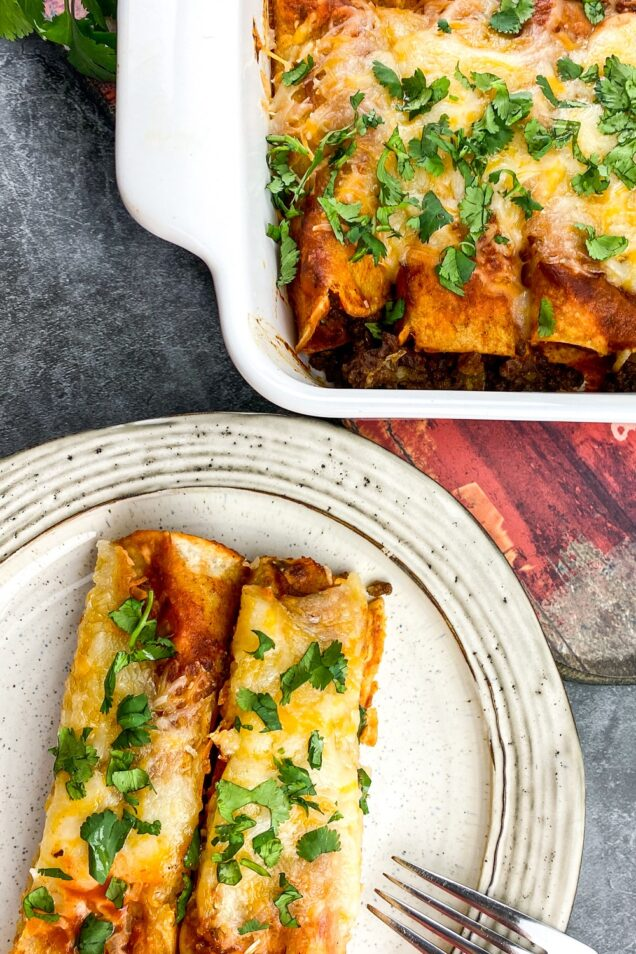 This easy beef enchilada recipe is packed with flavor and is sure to become a favourite weeknight family dinner.