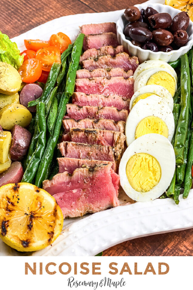 Niçoise Salad is a French composed salad, made of tomatoes, hard-boiled eggs, Niçoise olives and tuna. This version features seared Ahi Tuna.