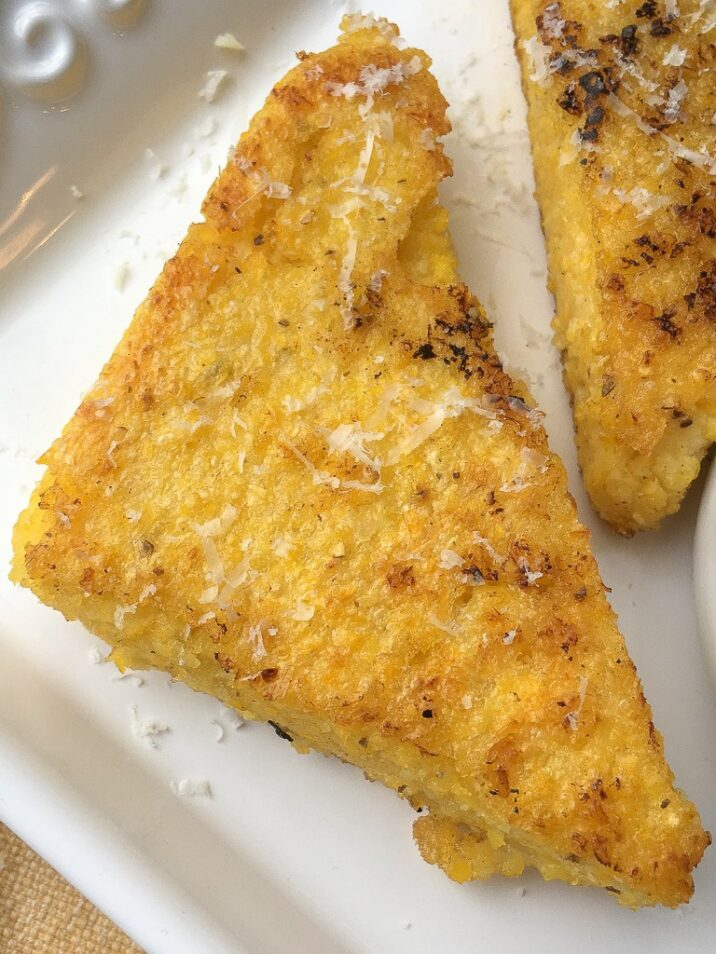 This easy Pan Fried Polenta Recipe includes directions to make creamy polenta and then fry it up, bake it or grill it.