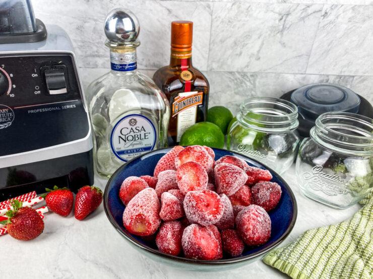 Ingredients for Chili's Frozen Strawberry Margarita