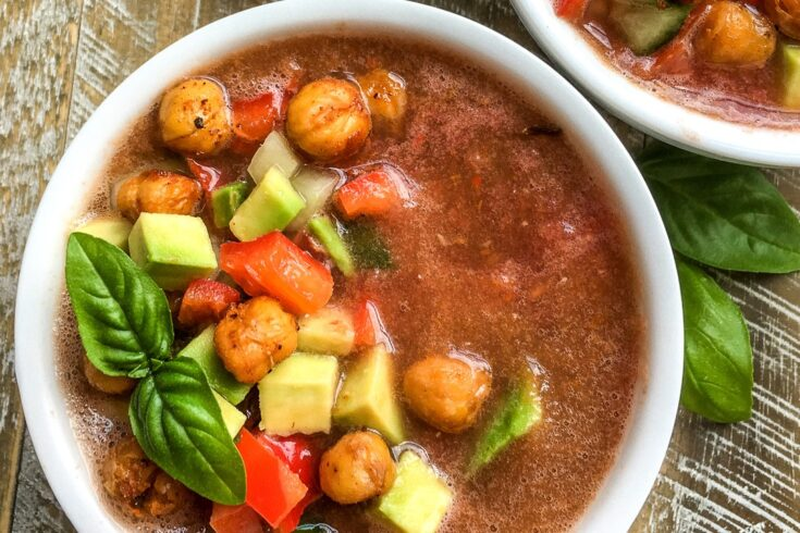Healthy Gazpacho Recipe with Chickpea Croutons