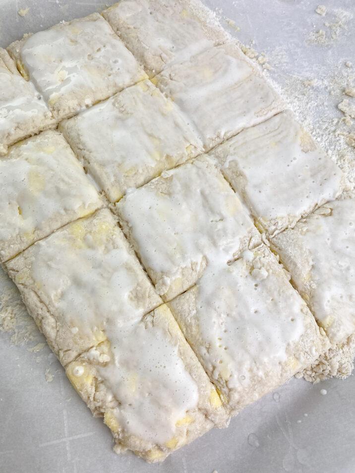 dough cut into squares