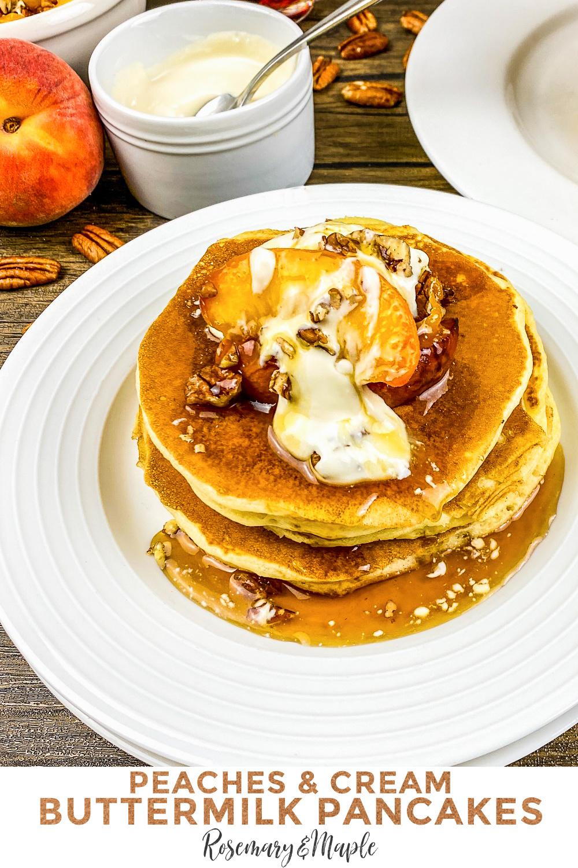 This recipe for peaches & cream buttermilk pancakes makes fluffy buttermilk pancakes smothered in maple peaches and vanilla cream cheese.