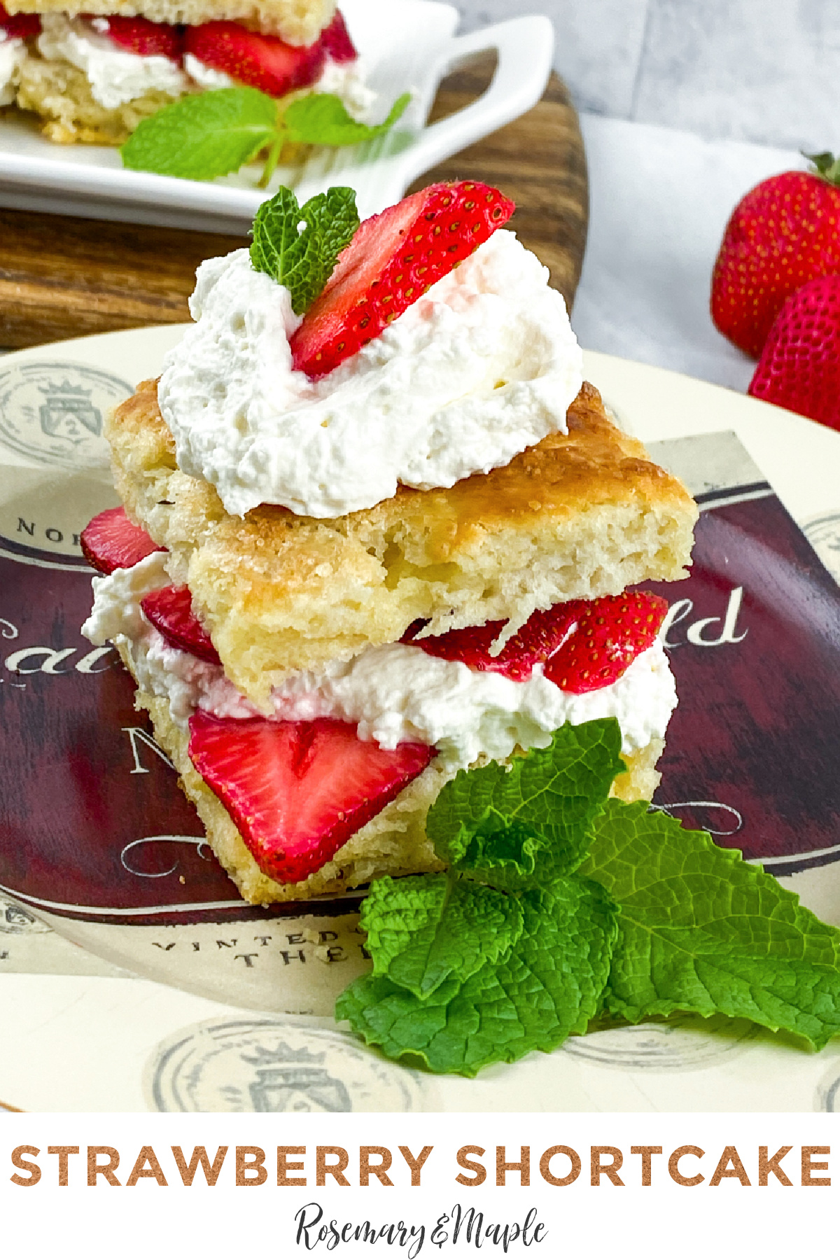 This is a traditional strawberry shortcake recipe made from scratch with fluffy shortcake, fresh macerated strawberries & real whipped cream.